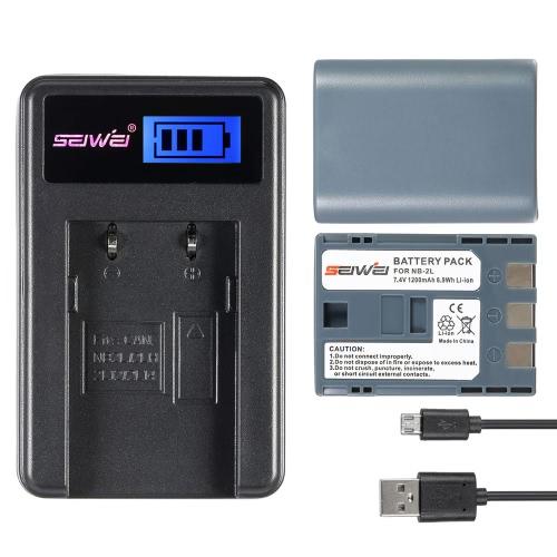 2pcs 7.4 v bateria de 1200mAh Li-ion recarregável com carregador LCD USB Kit para Canon EOS 350D 400D PowerShot G7 G9 S30 S40 S45 S50 S60 S70 S80 DC410 DC420 substituição de câmera para Canon NB - 2L NB-2LH bateria