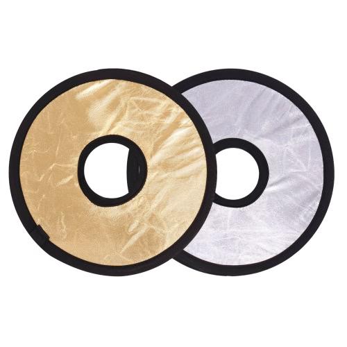 Andoer 30cm 2 en 1 tour Collapasible creux multi-disques Portable circulaire lumière-monture réflecteur argent or