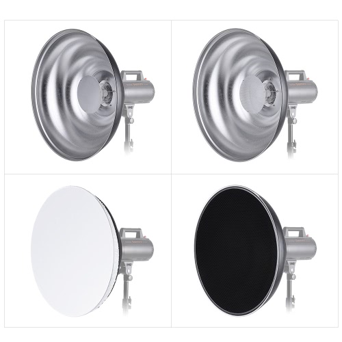 55cm/ 21.7 Inch Waved Beauty Dish Reflector with Honeycomb Soft Cloth Two Mini Reflectors Photography Accessory for Bowens Mount SCameras &amp; Photo Accessories<br>55cm/ 21.7 Inch Waved Beauty Dish Reflector with Honeycomb Soft Cloth Two Mini Reflectors Photography Accessory for Bowens Mount S<br>