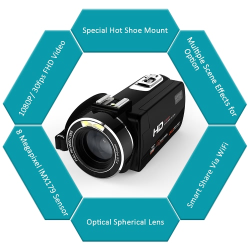 Andoer HDV-Z20 1080P Full HD 37mm 0.45? Wide Angle Lens Digital Zoom CamcorderCameras &amp; Photo Accessories<br>Andoer HDV-Z20 1080P Full HD 37mm 0.45? Wide Angle Lens Digital Zoom Camcorder<br>