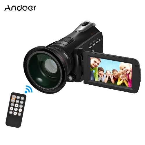 Andoer HDV-D395 Digital Video Camera DV WiFi 1080P 30fps FHD 24M Camcorder 18X Zoom with 72mm 0.39X Wide Angle + Macro Lens/ RemotCameras &amp; Photo Accessories<br>Andoer HDV-D395 Digital Video Camera DV WiFi 1080P 30fps FHD 24M Camcorder 18X Zoom with 72mm 0.39X Wide Angle + Macro Lens/ Remot<br>
