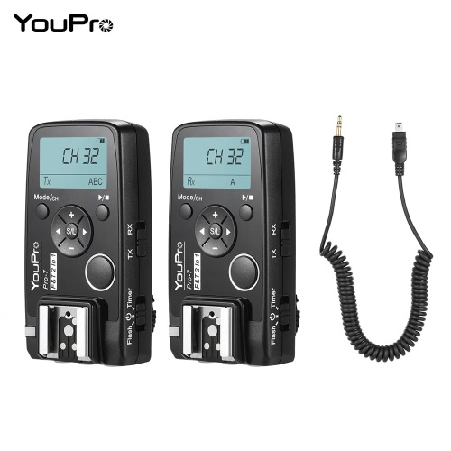 YouPro Pro-7 Wireless Shutter Timer Remote and Flash Trigger 2in1 with DC2 2.5mm PC Sync &amp; Shutter Cable for Nikon D750 D7500 D720Cameras &amp; Photo Accessories<br>YouPro Pro-7 Wireless Shutter Timer Remote and Flash Trigger 2in1 with DC2 2.5mm PC Sync &amp; Shutter Cable for Nikon D750 D7500 D720<br>