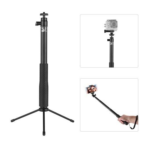 LDX-801 Aleación de aluminio Selfie Stick Kit Multifuncional antideslizante Extensible portátil Selfie Stick + Mini Tabletop Tripod + Soporte telefónico + Action Camera Connector para GoPro y otras marcas de acción Cámaras para teléfonos inteligentes de 57mm-87mm de ancho
