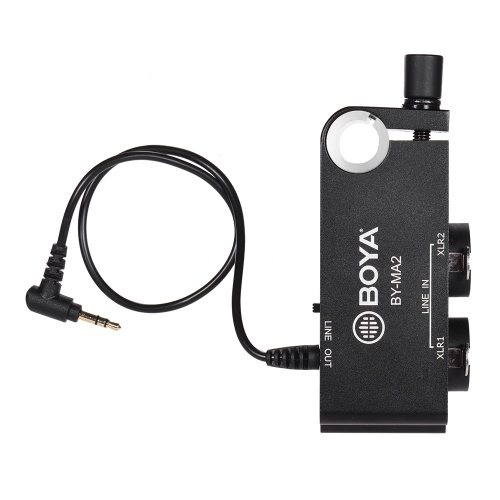 Adaptador de mezclador de audio de dos canales XLR a 3.5 mm BOYA BY-MA2 para cámara de video DSLR DV