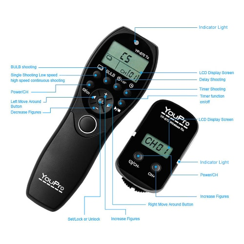 YouPro YP-870 N3 2.4G Wireless Remote Control LCD Timer Shutter Release Transmitter Receiver 32 Channels for Canon 7D 5D 5D2 5D3 5Cameras &amp; Photo Accessories<br>YouPro YP-870 N3 2.4G Wireless Remote Control LCD Timer Shutter Release Transmitter Receiver 32 Channels for Canon 7D 5D 5D2 5D3 5<br>