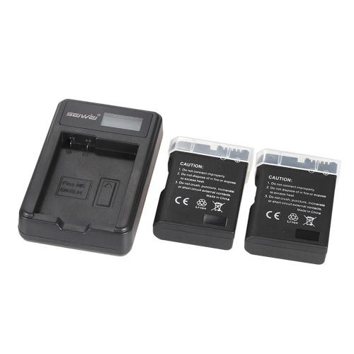 Carregador de energia portátil de LED com baterias de lítio recarregável de Li-Ion EN-EL14 2pcs 1200mAh para Nikon D3100 D3200 D3300 D5100 D5200 D5300 D5500 Coolpix P7000 P7100 P7700 P7800 DSLR câmeras filmadora