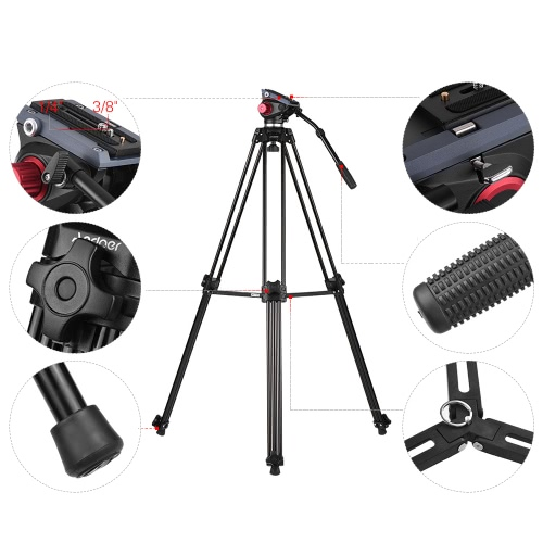Andoer Professional Aluminum Alloy Camera Video Tripod Panorama Fluid Hydraulic Head Ballhead for Canon Nikon Sony DSLR Recorder DCameras &amp; Photo Accessories<br>Andoer Professional Aluminum Alloy Camera Video Tripod Panorama Fluid Hydraulic Head Ballhead for Canon Nikon Sony DSLR Recorder D<br>
