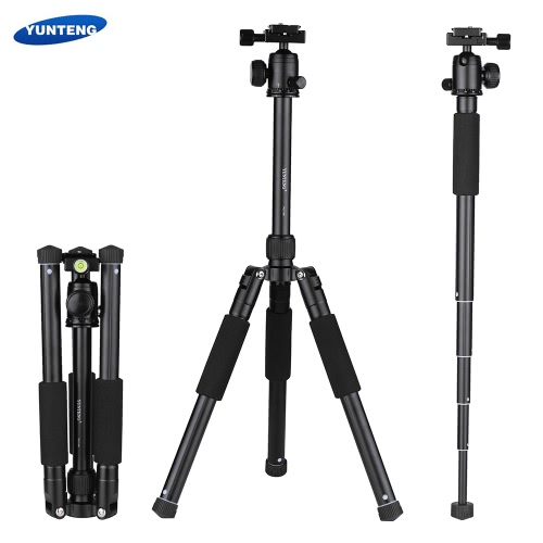 YUNTENG VCT-190 Professional Portable Aluminum Camera Tripod Also As Monopod with Ball Head 5 Sections Max. Load 2.5kg for Canon Nikon Sony DSLR ILDC Camera Camcorder DV