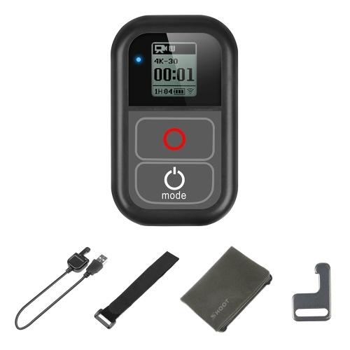 SHOOT XTGP183 Smart WiFi Télécommande étanche Remoter avec câble de charge Dragonne Clip en métal Pochette en tissu pour GoPro Hero 7 6 5 4 3+ 3 pour les caméras d'action GoPro Hero
