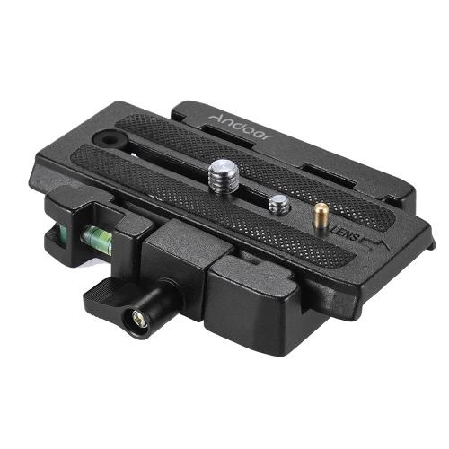 Andoer Video Camera Tripod Quick Release braçadeira Adaptador com placa de liberação rápida Compatível para Manfrotto 501 500AH 701HDV 503HDV Q5 Cabeça