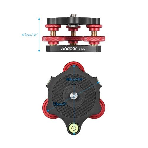 Andoer LP-64 Tripod Leveling Base Tri-wheel Precision Leveler with Bubble Level 3/8 Screw Aluminum Alloy Max. 15kg/33LbsCameras &amp; Photo Accessories<br>Andoer LP-64 Tripod Leveling Base Tri-wheel Precision Leveler with Bubble Level 3/8 Screw Aluminum Alloy Max. 15kg/33Lbs<br>