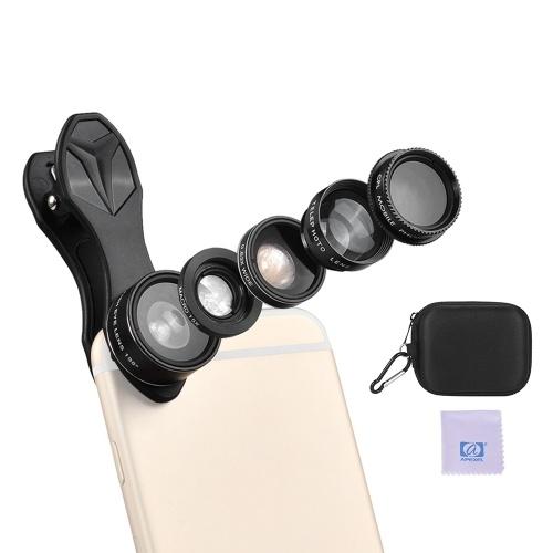 APEXEL APL-DG5H 5 في 1 مجموعة عدسات الهاتف المحمول