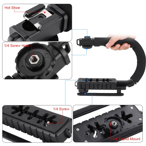 U/C Shaped Flash Bracket Holder Handle Hanheld Action Stabilizer Grip for Canon Nikon Sony Gopro SJCAM Xiaomi Yi Camera CamcorderCameras &amp; Photo Accessories<br>U/C Shaped Flash Bracket Holder Handle Hanheld Action Stabilizer Grip for Canon Nikon Sony Gopro SJCAM Xiaomi Yi Camera Camcorder<br>