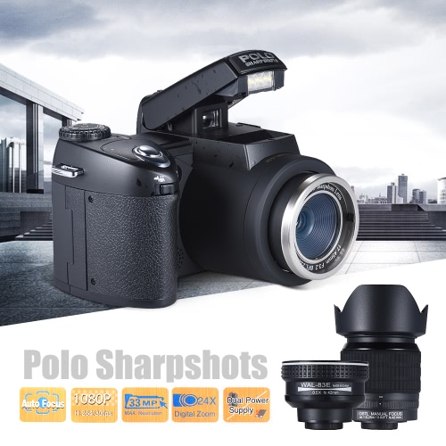 Polo Sharpshots Auto Focus AF 33MP 1080P 30fps FHD 8X Zoomable Digital Camera w/ Standard + 0.5X Wide Angle + 24X Telephoto Long LCameras &amp; Photo Accessories<br>Polo Sharpshots Auto Focus AF 33MP 1080P 30fps FHD 8X Zoomable Digital Camera w/ Standard + 0.5X Wide Angle + 24X Telephoto Long L<br>