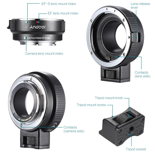 Andoer EF-EOSM Lens Mount Adapter Support Auto-Exposure Auto-Focus and Auto-Aperture for Canon EF/EF-S Series Lens to EOS M EF-M MCameras &amp; Photo Accessories<br>Andoer EF-EOSM Lens Mount Adapter Support Auto-Exposure Auto-Focus and Auto-Aperture for Canon EF/EF-S Series Lens to EOS M EF-M M<br>
