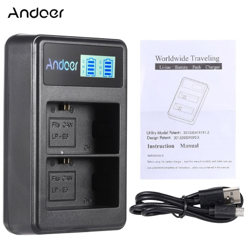 Andoer LP-E6 Rechargeable LED Display Li-ion Battery Charger Pack 2-Slot USB Cable Kit for Canon EOS 6D 7D 70D 60D 5D Mark   III MCameras &amp; Photo Accessories<br>Andoer LP-E6 Rechargeable LED Display Li-ion Battery Charger Pack 2-Slot USB Cable Kit for Canon EOS 6D 7D 70D 60D 5D Mark   III M<br>