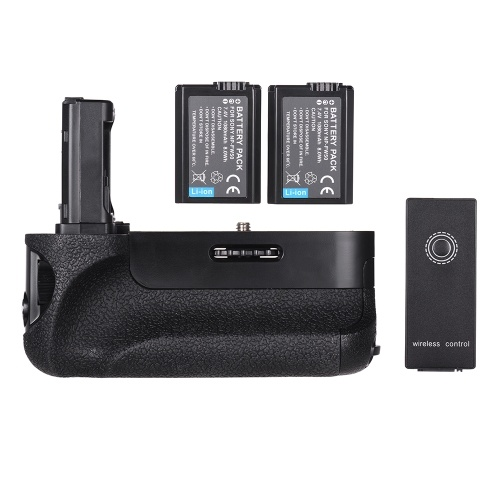 Reemplazo del agarre de la batería de la cámara vertical Soporte de la batería con NP-FW50 Control remoto inalámbrico con batería 2.4G para Sony A7 / A7R / A7S Cámara Digital SLR