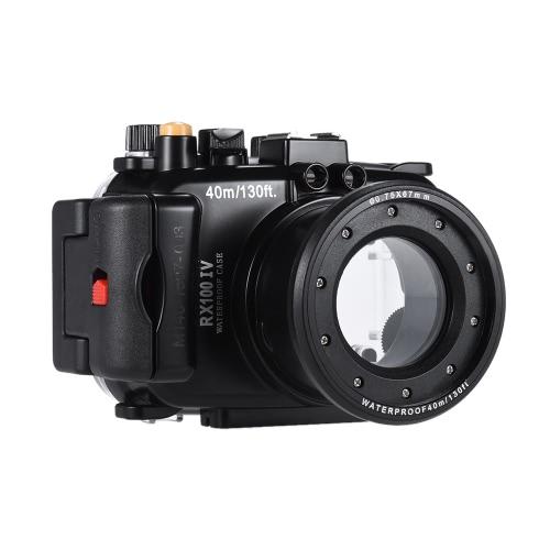 MEIKON SY-16 40m / 130 pés Camera Waterproof Underwater Camera Case Impermeável caixa preta para Sony RX100 IV