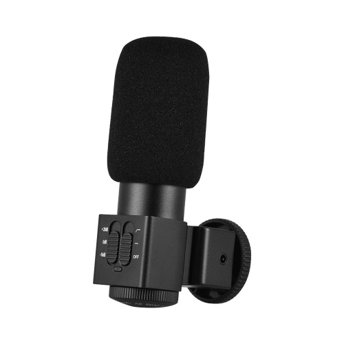 M101 Stereo Microphone Back Electret Condenser Microphone Video Recording Interview Microphone with Windscreen for Canon Nikon SonCameras &amp; Photo Accessories<br>M101 Stereo Microphone Back Electret Condenser Microphone Video Recording Interview Microphone with Windscreen for Canon Nikon Son<br>