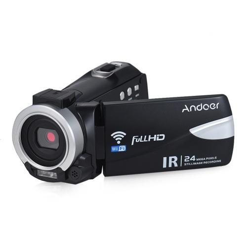 Andoer 1080P FHD 24M Caméra Vidéo Numérique WiFi Caméscope Enregistreur D