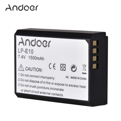Andoer LP-E10 LPE10 Rechargeable Li-ion Battery 7.4V 1500mAh for Canon EOS 1100D Rebel T3 Kiss X50 Digital SLR Camera CamcorderCameras &amp; Photo Accessories<br>Andoer LP-E10 LPE10 Rechargeable Li-ion Battery 7.4V 1500mAh for Canon EOS 1100D Rebel T3 Kiss X50 Digital SLR Camera Camcorder<br>