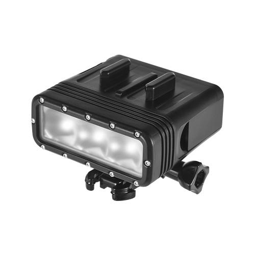 Luz de la cámara de acción Luz LED impermeable Lámpara regulable de luz Submarino 40M Buceo con 900mAh Batería recargable para GOPRO 7 o cualquier cámara de acción