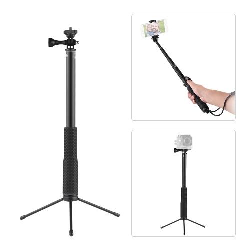 """LDX-808 Suit Bastone Selfie in lega di alluminio Kit 36cm-110cm Bastone portatile estensibile a 4 sezioni Selfie con clip del telecomando per GoPro + Supporto per telefono + Telecomando del telefono e telecomando Clip + Connettore da 1/4 """"per GoPro Hero 6 5 4 3 3 + per Xiaoyi Andoer Action Camera per smartphone con larghezza di 5,5-8 cm"""