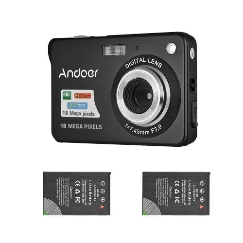 Andoer 18M 720p HD appareil photo numérique caméscope avec 2pcs batteries rechargeables 8X zoom numérique anti-shake 2.7inch LCD enfants cadeau de Noël