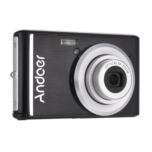 Andoer 20MP 1080P Appareil Photo Numérique FHD Caméscope avec 2pcs Piles Rechargeables 8X Zoom Optique Anti-shake 2.4 pouces LCD Écran Enfants Cadeau De Noël