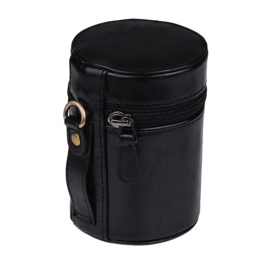Funda protectora de cuero de la PU Funda protectora de la funda del bolso Tamaño interior 95 * 65 mm para Canon Nikon Sony Fuji Pentax Panasonic DSLR Universal Lente de la cámara