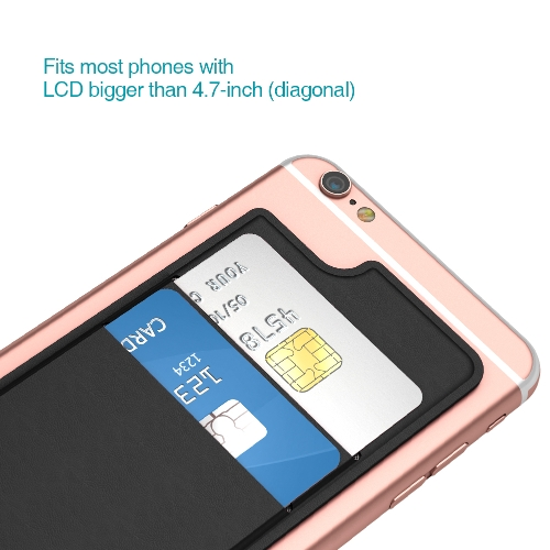 dodocool Ultra-slim Self Adhesive Credit Card Holder 2 Slot Stick-on Wallet for iPhone 7 Plus/7/6s Plus/6s/6 Plus/6 Smartphones Black