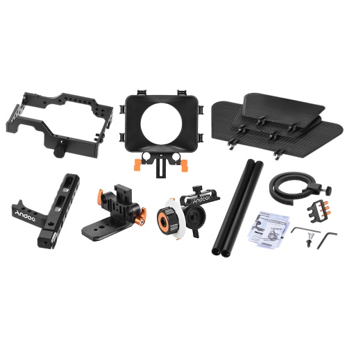 Andoer C500 Aluminum Alloy Camera Camcorder Video Cage Rig Kit Film Making System w/ Matte Box + Follow Focus + Handle + 15mm RodCameras &amp; Photo Accessories<br>Andoer C500 Aluminum Alloy Camera Camcorder Video Cage Rig Kit Film Making System w/ Matte Box + Follow Focus + Handle + 15mm Rod<br>