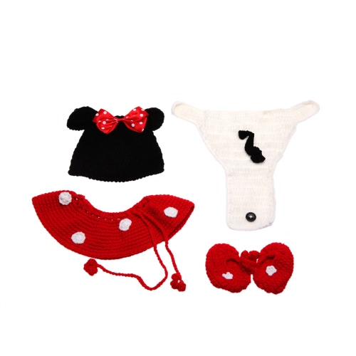 Baby Infant Cute Cartoon Mouse Crochet Knitting Costume Soft Adorable Clothes Photo Photography Props for 0-6 Month NewbornCameras &amp; Photo Accessories<br>Baby Infant Cute Cartoon Mouse Crochet Knitting Costume Soft Adorable Clothes Photo Photography Props for 0-6 Month Newborn<br>