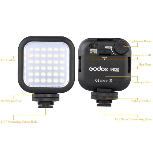 Godox LED36 Video Light 36 LED Lights for DSLR Camera Camcorder mini DVRCameras &amp; Photo Accessories<br>Godox LED36 Video Light 36 LED Lights for DSLR Camera Camcorder mini DVR<br>