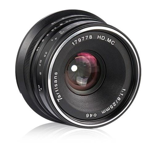 Objectif grand angle 7artisans 25mm F1.8 à grande ouverture manuelle pour appareils photo sans miroir à monture Sony A7 / A7II / A7R / A7S