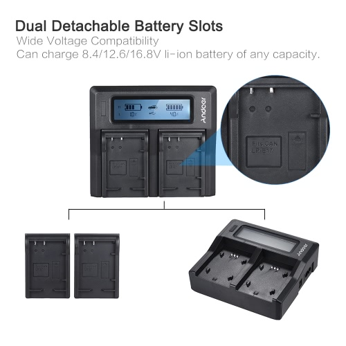 Andoer LP-E17 Dual Channel Digital Camera Battery Charger w/ LCD Display for Canon 750D 760D Rebel T6i T6s EOS M3/M5/M6/800D/77DCameras &amp; Photo Accessories<br>Andoer LP-E17 Dual Channel Digital Camera Battery Charger w/ LCD Display for Canon 750D 760D Rebel T6i T6s EOS M3/M5/M6/800D/77D<br>