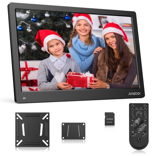 Andoer 17.3 Inch Digital Photo Picture Frame FHD 1920*1080 IPS Screen Support Calendar/Clock/MP3/Photos/1080P Video Player with 75*75mm Standard VESA Wall Mounting Bracket & 8GB Memory Card & Remote Control