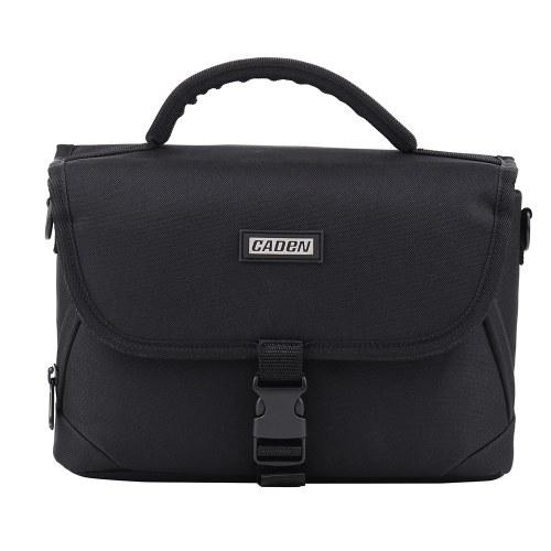 Bolso para cámara acolchada CADEN, con diseño de cremallera, a prueba de golpes, negro para Nikon Canon Cámaras DSLR Sony Lentes de tamaño medio