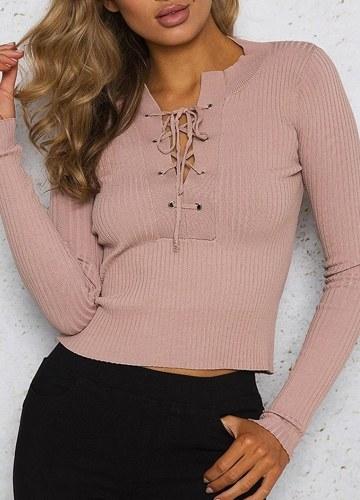 Suéter tejido de punto con cuello en V y cuello ajustado