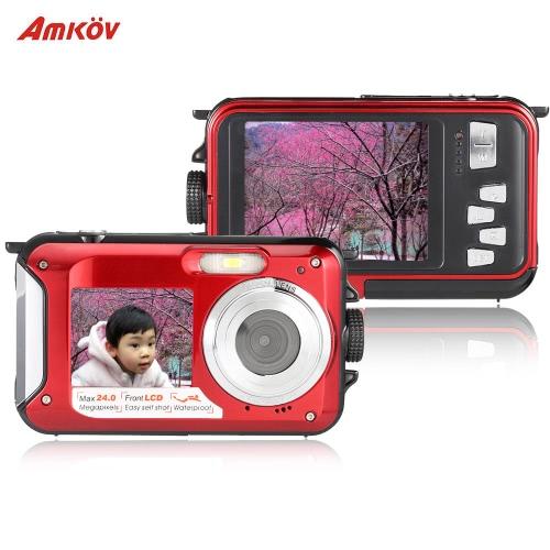 Amkov Dual LCD 2.7 HD 24MP 16X Digital Zoom 1080P 30FPS Waterproof Anti-shake Selfie Digital Camera CamcorderCameras &amp; Photo Accessories<br>Amkov Dual LCD 2.7 HD 24MP 16X Digital Zoom 1080P 30FPS Waterproof Anti-shake Selfie Digital Camera Camcorder<br>