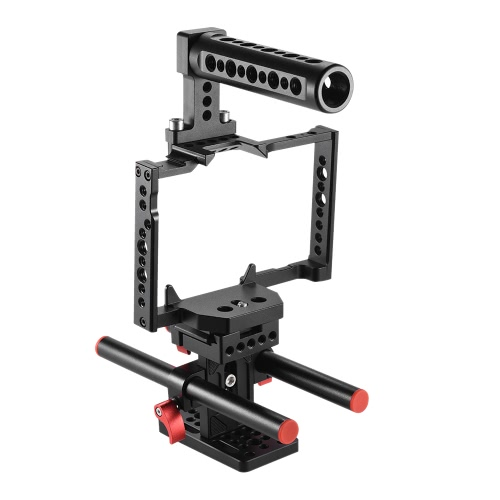 Andoer Aluminum Alloy Camera Cage + Top Handle + 15mm Rod Baseplate Kit Video Film Movie Making Stabilizer System for Panasonic GH5 Camera