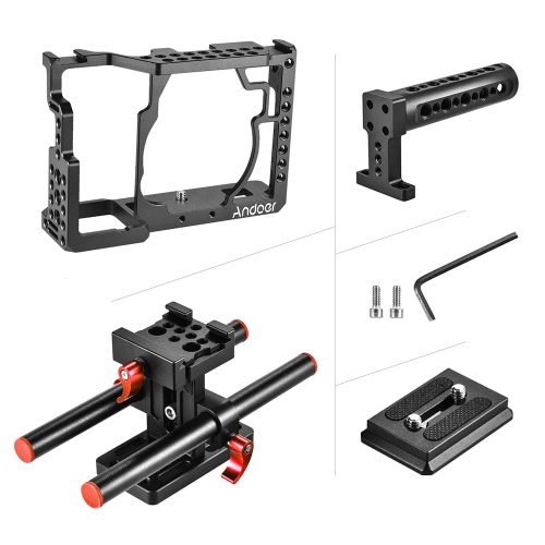 Andoer Aluminum Alloy Camera Cage Video Film Movie Making Stabilizer with Cold Shoe Mount for Sony A7/ A7R/ A7S CameraCameras &amp; Photo Accessories<br>Andoer Aluminum Alloy Camera Cage Video Film Movie Making Stabilizer with Cold Shoe Mount for Sony A7/ A7R/ A7S Camera<br>