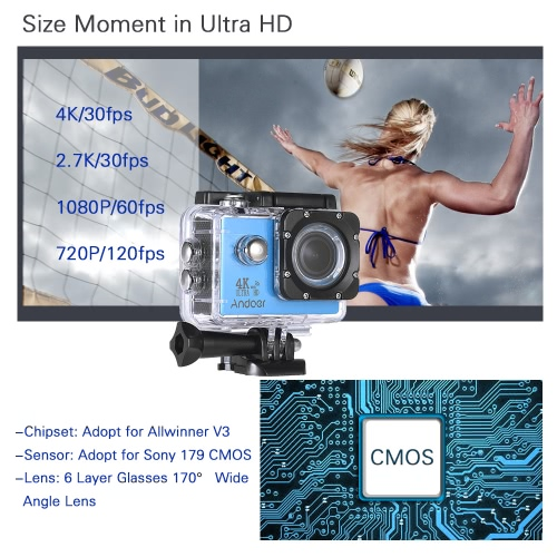 Andoer AN4000 4K 30fps 16MP WiFi Action Sports CameraCameras &amp; Photo Accessories<br>Andoer AN4000 4K 30fps 16MP WiFi Action Sports Camera<br>