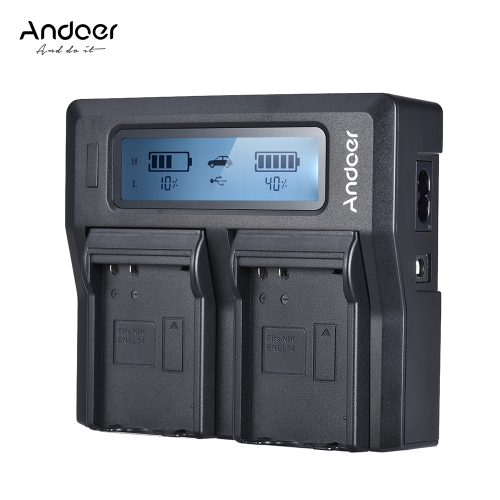 Andoer ENEL14 Dual Channel LCD Camera Battery Charger for Nikon D5600 D5500 D5300 D5200 D5100 D3100 D3200 D3300 D3400Cameras &amp; Photo Accessories<br>Andoer ENEL14 Dual Channel LCD Camera Battery Charger for Nikon D5600 D5500 D5300 D5200 D5100 D3100 D3200 D3300 D3400<br>