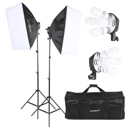 Andoer Studio Photo Lighting Kit with 2 * Softbox / 2 * 4in1 Bulb Socket / 8 * 45W Bulb / 2 * Light Stand / 1 * Carrying BagCameras &amp; Photo Accessories<br>Andoer Studio Photo Lighting Kit with 2 * Softbox / 2 * 4in1 Bulb Socket / 8 * 45W Bulb / 2 * Light Stand / 1 * Carrying Bag<br>