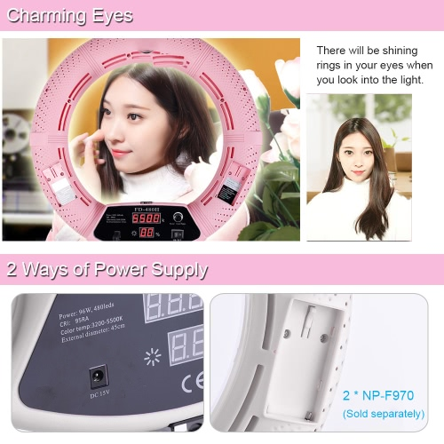 FD-480II 17.7 /45cm 96W Dimmable Bi-color 3200-5500K Macro LED Video Ring Light Lamp w/ LCD Display Make-up Mirror Smartphone HolCameras &amp; Photo Accessories<br>FD-480II 17.7 /45cm 96W Dimmable Bi-color 3200-5500K Macro LED Video Ring Light Lamp w/ LCD Display Make-up Mirror Smartphone Hol<br>