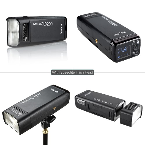 Godox AD200 Pocket Flash Portable Mini TTL Speedlite with 2 Light Heads GN52 GN60 1/8000s HSS Built-in 2.4G Wireless X System 200WCameras &amp; Photo Accessories<br>Godox AD200 Pocket Flash Portable Mini TTL Speedlite with 2 Light Heads GN52 GN60 1/8000s HSS Built-in 2.4G Wireless X System 200W<br>