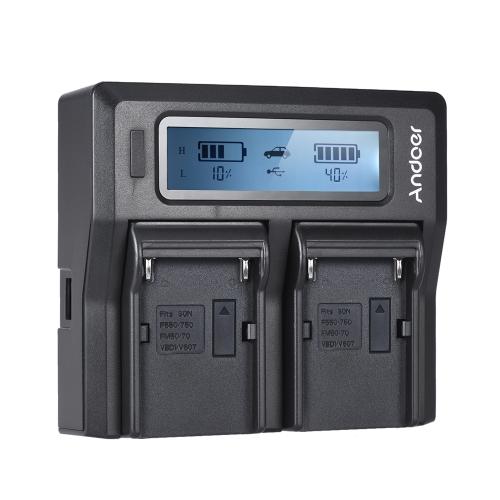 Andoer NP-F970 Carregador de bateria de câmera digital de dois canais com display LCD para Sony NP-F550 / F750 / F950 / NP-FM50 / FM500H / QM71