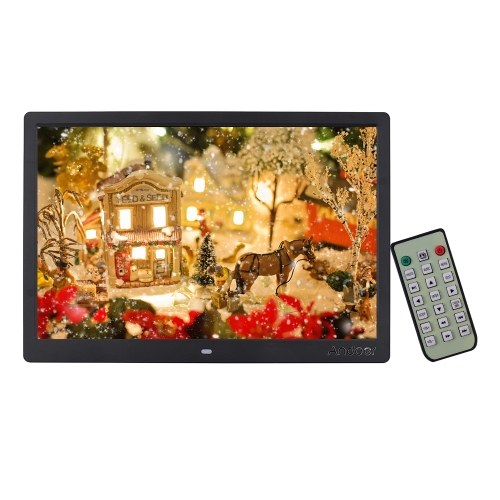 Andoer 15.4 Inch 1280 * 800 Resolution LED Digital Picture Photo Frame Photo Album 1080P HD Video Playing with Remote Control Music Movie Clock Calendar E-Book Functions