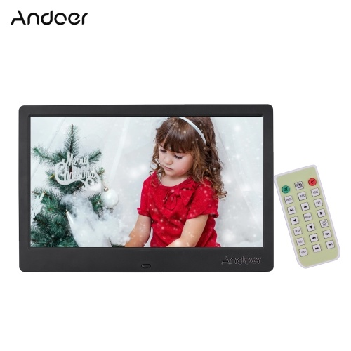 Andoer 12.5 Inch Digital Photo Frame Narrow Border 1366*768 High Resolution EDP Wide Viewing Angle Display Support Music Video Clock Calendar Alarm Clock Scroll Subtitle Function with Remote Control
